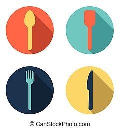 forchetta, set, coltelleria, cucchiaio, vettore, icona coltello
