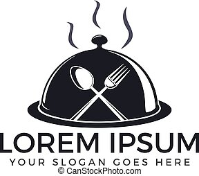 forchetta, spoon., chef, cena, vettore, logotipo, icona, cappello, design.