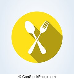 forchetta, spoon., illustrazione, isolato, fondo., vettore, attraversato, bianco, icona