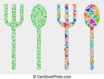 forchetta, triangolo, articoli, cucchiaio, vettore, mosaico, icona