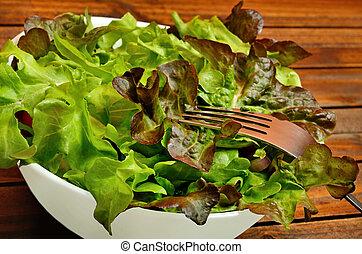 forchetta, verdura, ciotola, insalata