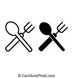 forchetta, web, stile, white., 10., contorno, ristorante, isolato, illustrazione, eps, app., cucchiaio, vettore, attraversato, disegnato, icon., linea, disegno, glyph