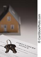 forclusion, avis, clés, maison, foyer., sélectif, gradated, fond, maison, modèle