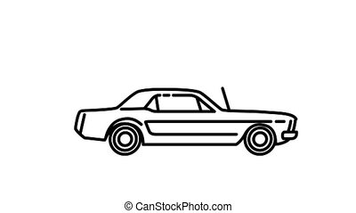 Ford Mustang 260 Coupe line icon is one of the Cars and Vehicles icon set. File contains alpha channel. From 2 to 6 seconds - loop.