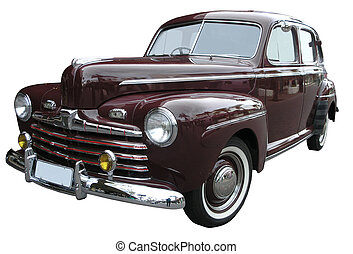 A 1947 Ford V8 isolated on white with clipping paths