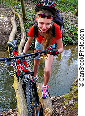 fording, cyclisme, throught, vélos, water., girl