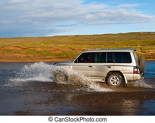 Fording offroad car