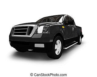 fordtf150, aislado, negro, coche, vista delantera, 01