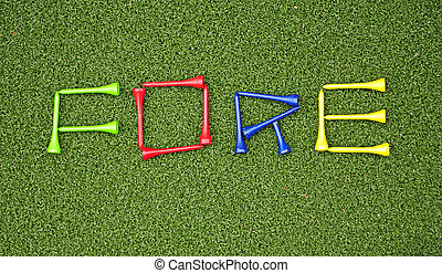 golf tees spell out fore