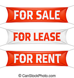 Fore Sale, For Lease and For Rent banners