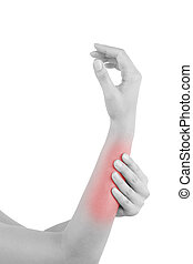 Forearm muscle strain. Female hand touching forearm with...