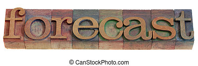 forecast concept - a word in vintage wooden letterpress printing blocks, stained by color inks, isolated on white