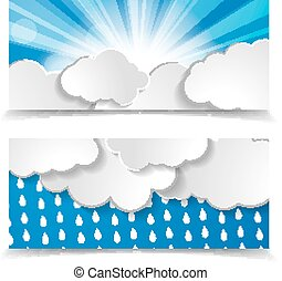 forecast header set. sun with rays, rain drops and clouds on a b