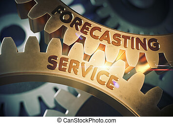 Forecasting Service Concept. Golden Gears. 3D Illustration.