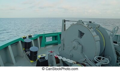Forecastle view of Anchor-handling Tug Supply vessel. Sea...