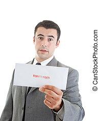 """""""foreclosed"""", estampado, envelope, foco, hispânico, letra, segurando, homem"""