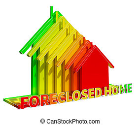 Foreclosed Home Represents Foreclosure Sale 3d Illustration...