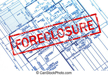 Closeup of foreclosure definition in dictionary stock photographs a foreclosure stamp on a house blueprint malvernweather Choice Image
