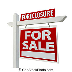 Foreclosure Home For Sale Real Estate Sign Isolated