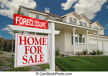 Foreclosure Home For Sale Sign and House with dramatic sky ...
