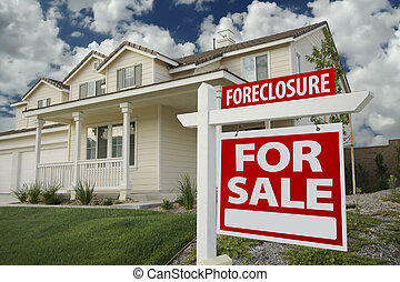 Foreclosure Home For Sale Sign & House