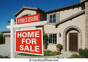 Foreclosure Home For Sale Sign in Front of New House on Deep Blue Sky