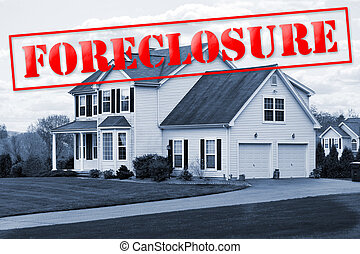 Foreclosure House - A foreclosed house with a red...