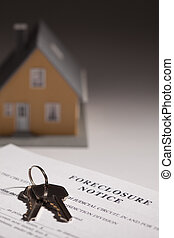 foreclosure, kennisgeving, sleutels, woning, focus., selectief, gradated, achtergrond, thuis, model