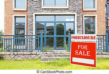 foreclosure, ligado, lar, sinal venda, frente, jarda