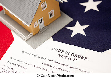 Foreclosure Notice, House and Flag