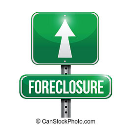 foreclosure, ontwerp, straat, illustratie, meldingsbord