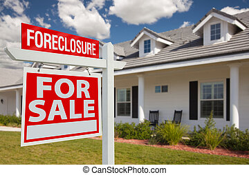 Foreclosure Real Estate Sign and House - Left - Foreclosure...