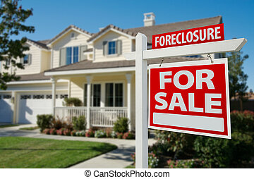 Foreclosure Home For Sale Real Estate Sign in Front of New House.