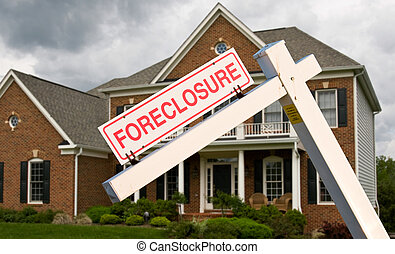 Foreclosure sign in front on modern house - Leaning...