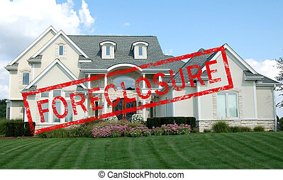 Foreclosure red stamp across a luxury home
