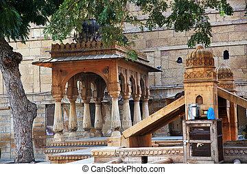 a forecourt in Jaisalmer, Rajasthan India