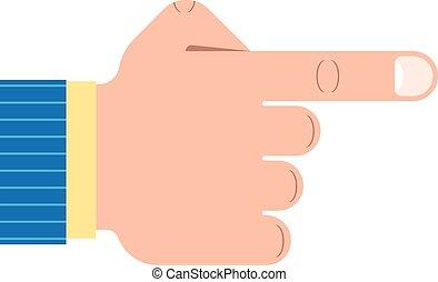 forefinger - Outline illustration of a pointing hand...