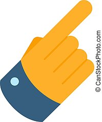 Forefinger flat icon. Hand with pointing finger symbol.