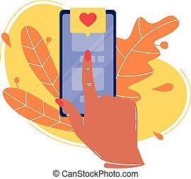 Forefinger is pressing button on the smartphone in application and likes. Social networks, rating. Flat vector concept illustration isolated on white.