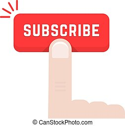 forefinger on subscribe button. concept of data feed,...