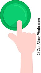 forefinger pushing on green button