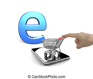 Forefinger pushing shopping cart on smartphone with letter e