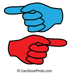 Forefinger - Illustration of left and right hands as a sign...