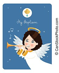 Foreground angel playing the trumpet. My baptism reminder on a blue sky background. Vector illustration