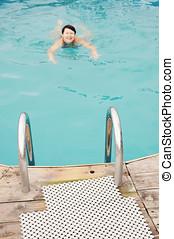 foreground), draußen, frau, (focus, teich, schwimmender