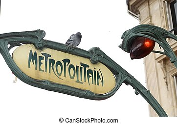 metro - Foreground of a metro signal in  Paris, France