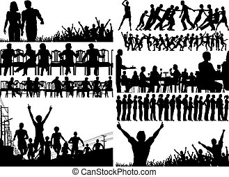 Set of editable vector foreground illustrations of people with all figures as separate elements