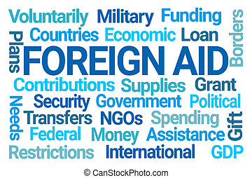Foreign Aid Word Cloud on White Background