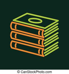 Foreign books icon, outline style