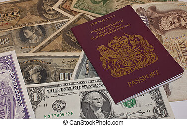 a european passport with foreign currency ready to travel